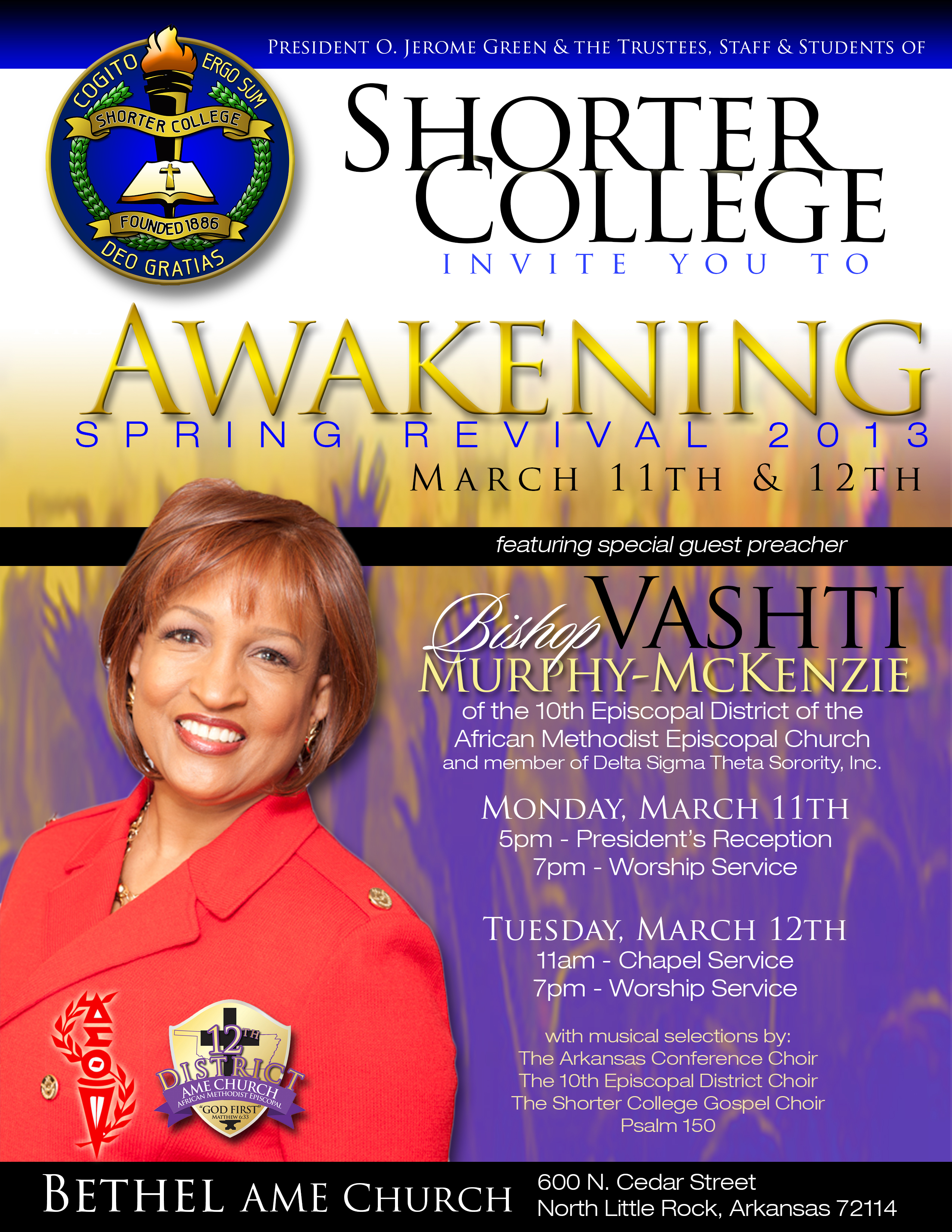world renowned bishop to speak at shorter college  president o jerome green esq and shorter college kicks off religious emphasis week the awakening spring revival followed by a slate of community
