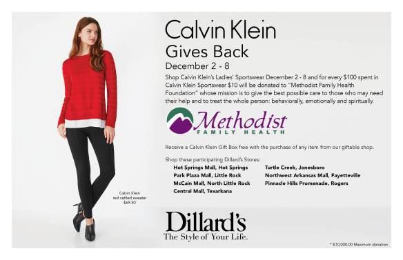 Calvin Gives Back-Dillards Arkansas stores and Methodist Family Health Foundation